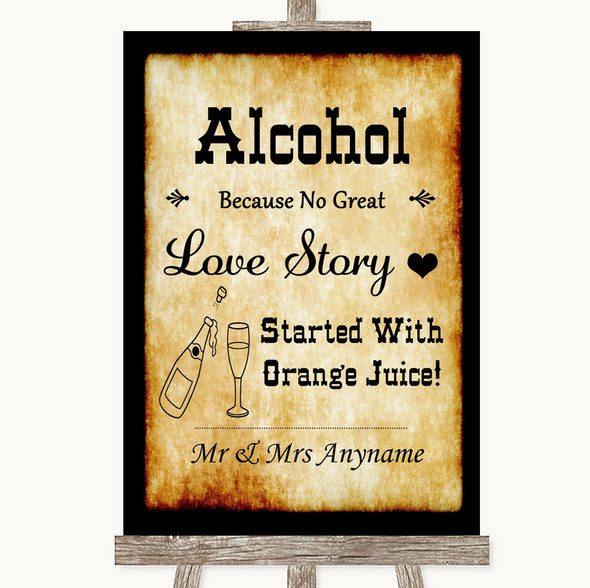 Western Alcohol Bar Love Story Personalised Wedding Sign