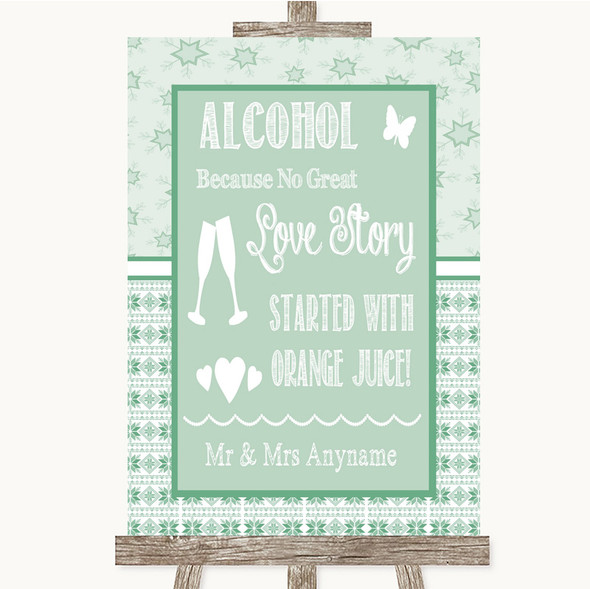 Winter Green Alcohol Bar Love Story Personalised Wedding Sign