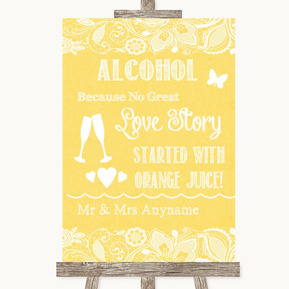 Yellow Burlap & Lace Alcohol Bar Love Story Personalised Wedding Sign