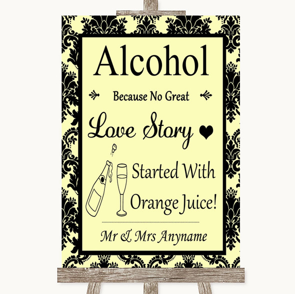 Yellow Damask Alcohol Bar Love Story Personalised Wedding Sign