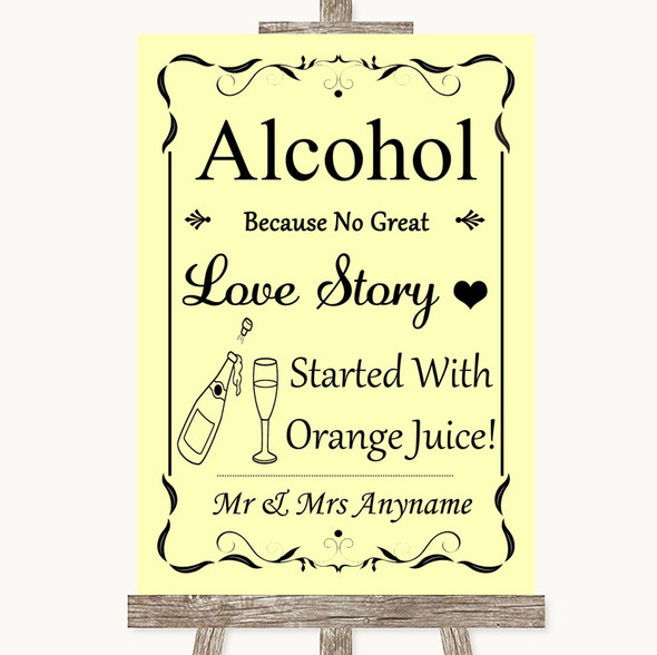Yellow Alcohol Bar Love Story Personalised Wedding Sign