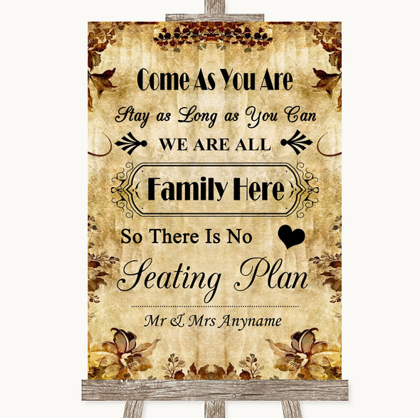 Autumn Vintage All Family No Seating Plan Personalised Wedding Sign