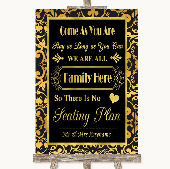 Black & Gold Damask All Family No Seating Plan Personalised Wedding Sign