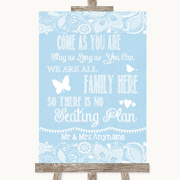 Blue Burlap & Lace All Family No Seating Plan Personalised Wedding Sign