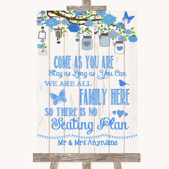 Blue Rustic Wood All Family No Seating Plan Personalised Wedding Sign