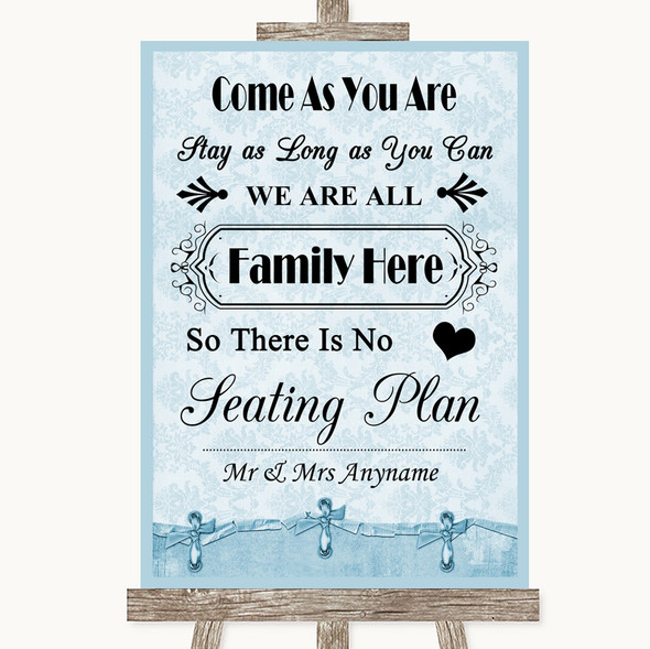 Blue Shabby Chic All Family No Seating Plan Personalised Wedding Sign