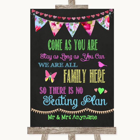 Bright Bunting Chalk All Family No Seating Plan Personalised Wedding Sign