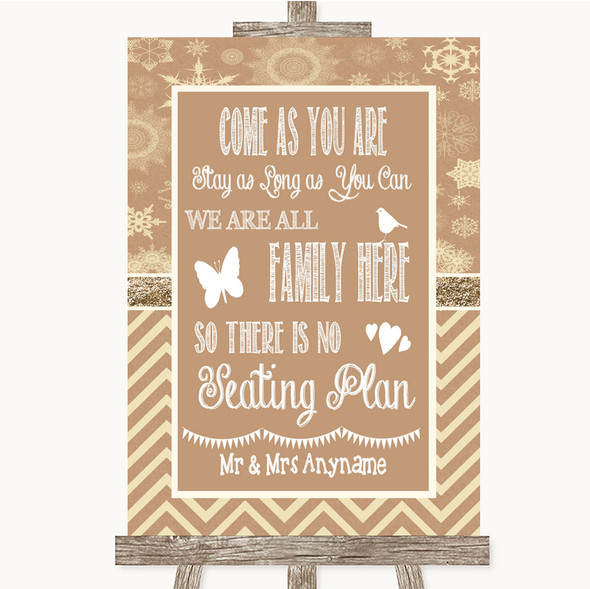 Brown Winter All Family No Seating Plan Personalised Wedding Sign
