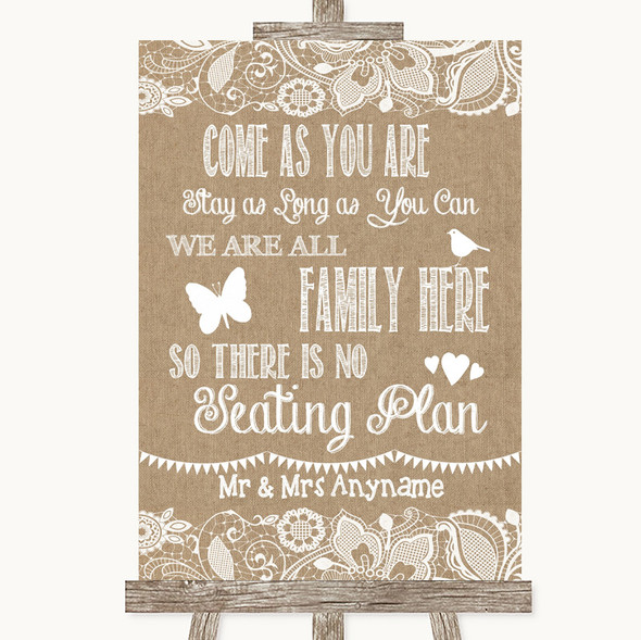 Burlap & Lace All Family No Seating Plan Personalised Wedding Sign