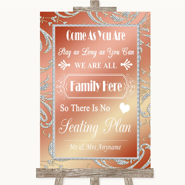 Coral Pink All Family No Seating Plan Personalised Wedding Sign