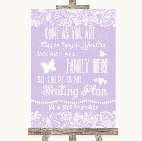 Lilac Burlap & Lace All Family No Seating Plan Personalised Wedding Sign