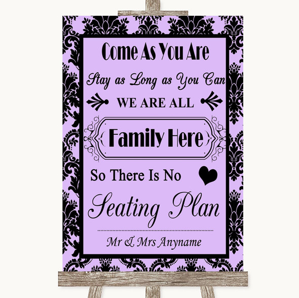 Lilac Damask All Family No Seating Plan Personalised Wedding Sign