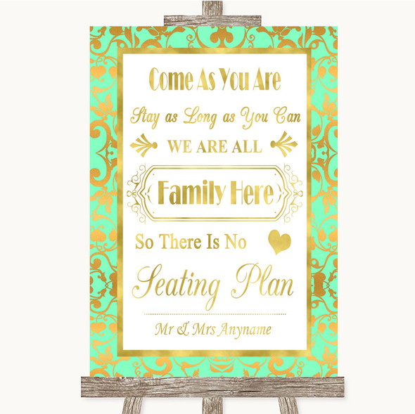 Mint Green & Gold All Family No Seating Plan Personalised Wedding Sign