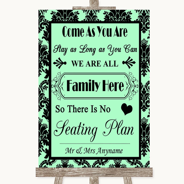 Mint Green Damask All Family No Seating Plan Personalised Wedding Sign