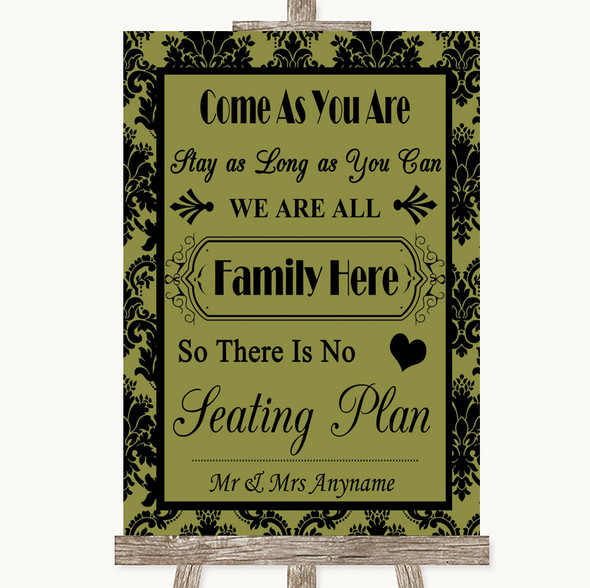 Olive Green Damask All Family No Seating Plan Personalised Wedding Sign
