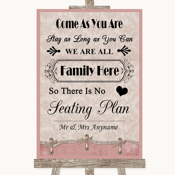 Pink Shabby Chic All Family No Seating Plan Personalised Wedding Sign