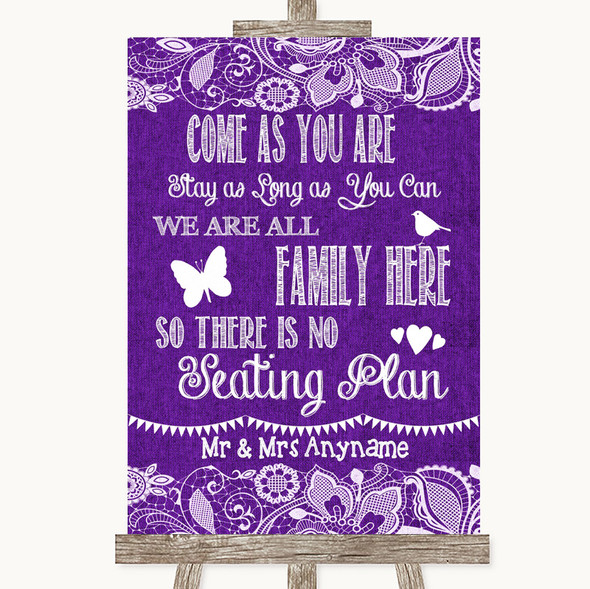 Purple Burlap & Lace All Family No Seating Plan Personalised Wedding Sign