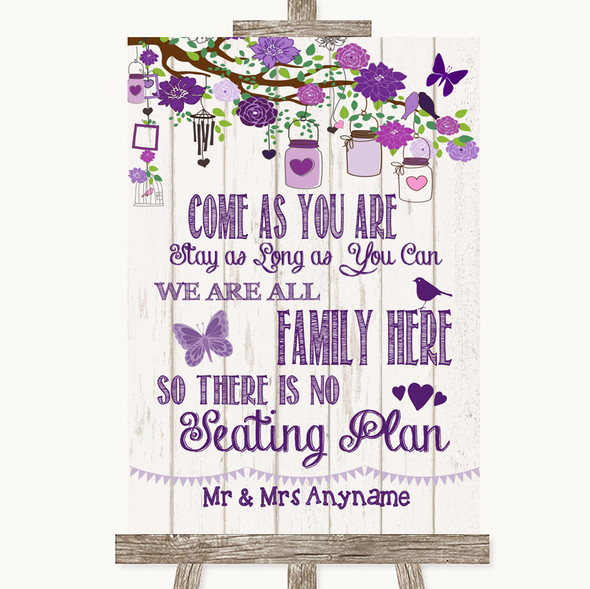 Purple Rustic Wood All Family No Seating Plan Personalised Wedding Sign