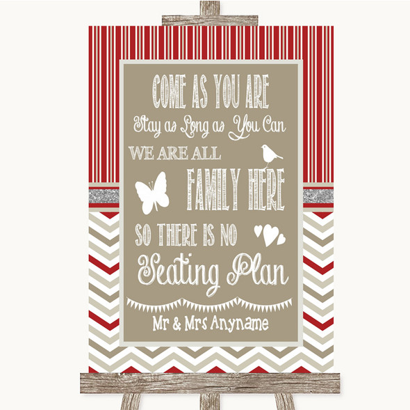 Red & Grey Winter All Family No Seating Plan Personalised Wedding Sign