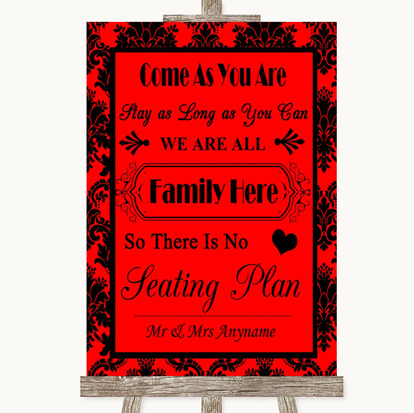 Red Damask All Family No Seating Plan Personalised Wedding Sign