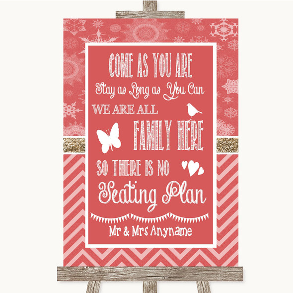 Red Winter All Family No Seating Plan Personalised Wedding Sign