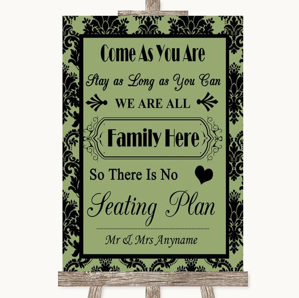 Sage Green Damask All Family No Seating Plan Personalised Wedding Sign