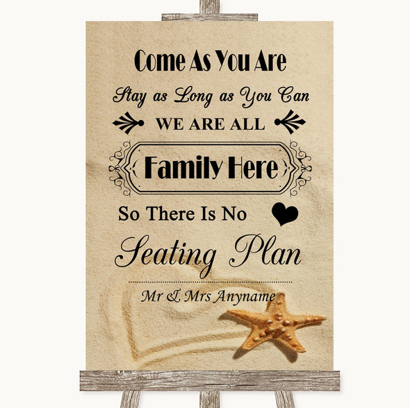 Sandy Beach All Family No Seating Plan Personalised Wedding Sign