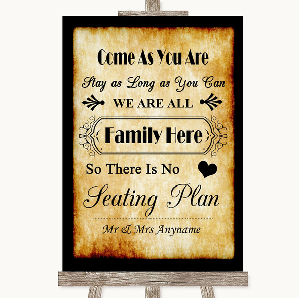 Western All Family No Seating Plan Personalised Wedding Sign