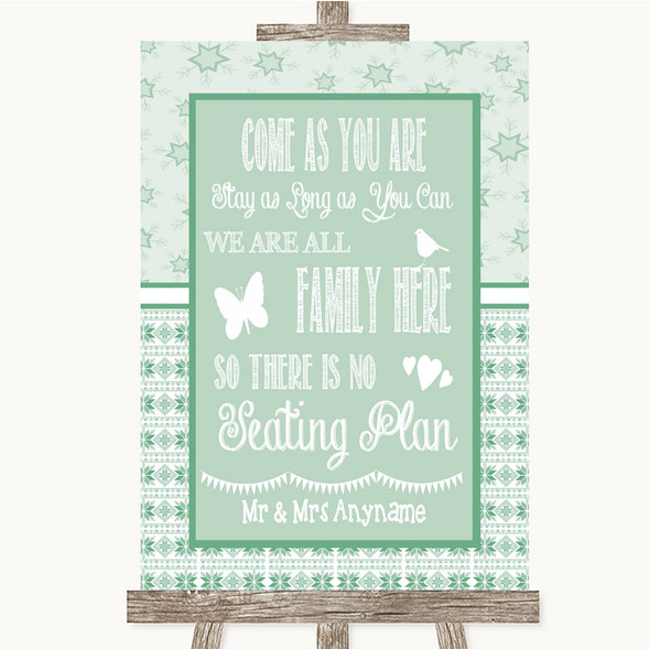 Winter Green All Family No Seating Plan Personalised Wedding Sign