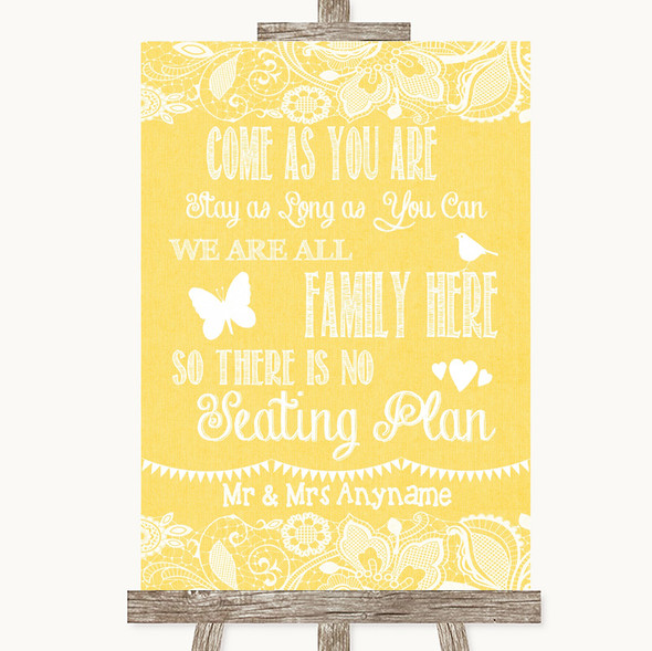 Yellow Burlap & Lace All Family No Seating Plan Personalised Wedding Sign