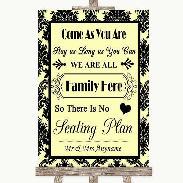 Yellow Damask All Family No Seating Plan Personalised Wedding Sign