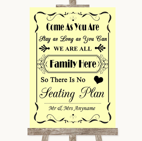Yellow All Family No Seating Plan Personalised Wedding Sign