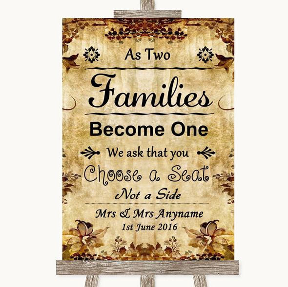 Autumn Vintage As Families Become One Seating Plan Personalised Wedding Sign