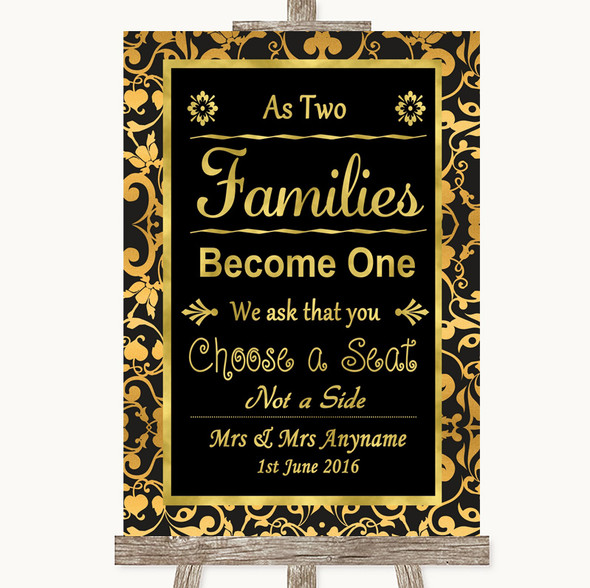 Black & Gold Damask As Families Become One Seating Plan Wedding Sign