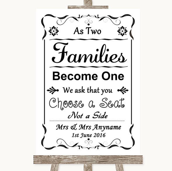 Black & White As Families Become One Seating Plan Personalised Wedding Sign