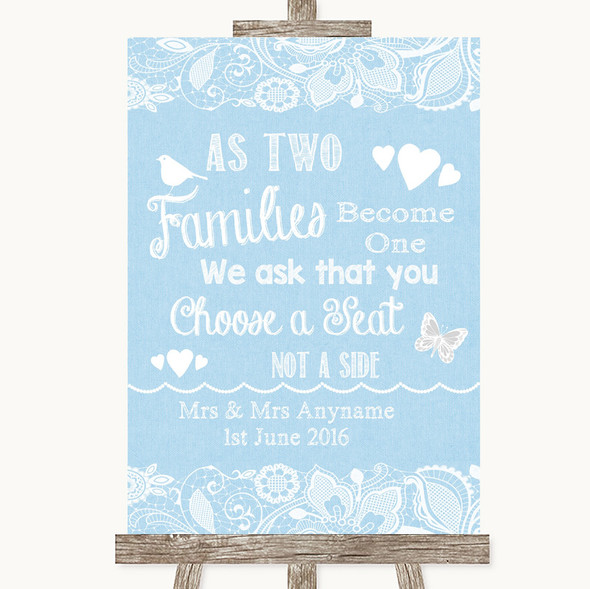 Blue Burlap & Lace As Families Become One Seating Plan Personalised Wedding Sign