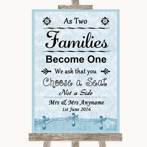 Blue Shabby Chic As Families Become One Seating Plan Personalised Wedding Sign