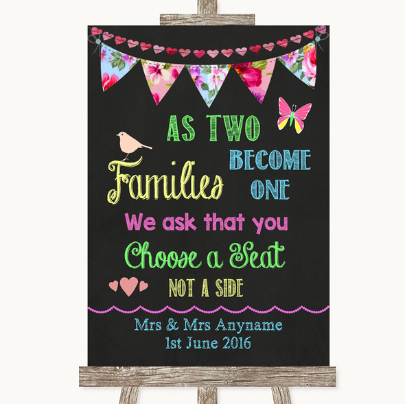Bright Bunting Chalk As Families Become One Seating Plan Wedding Sign