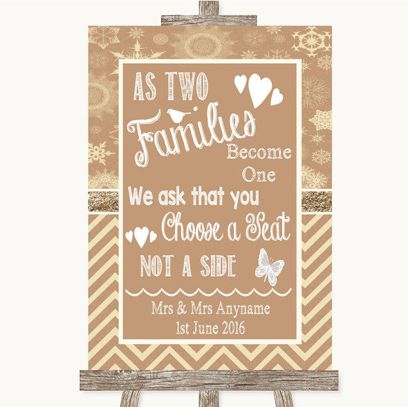 Brown Winter As Families Become One Seating Plan Personalised Wedding Sign