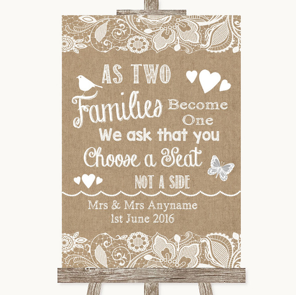 Burlap & Lace As Families Become One Seating Plan Personalised Wedding Sign