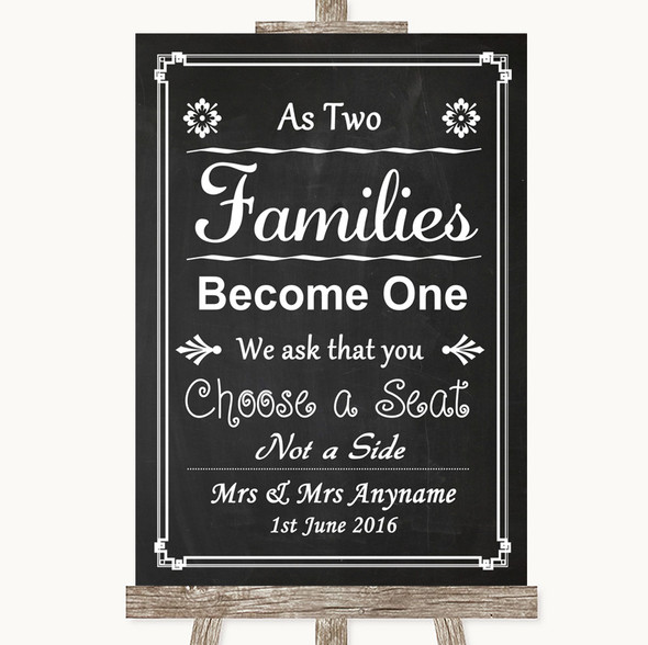 Chalk Style As Families Become One Seating Plan Personalised Wedding Sign