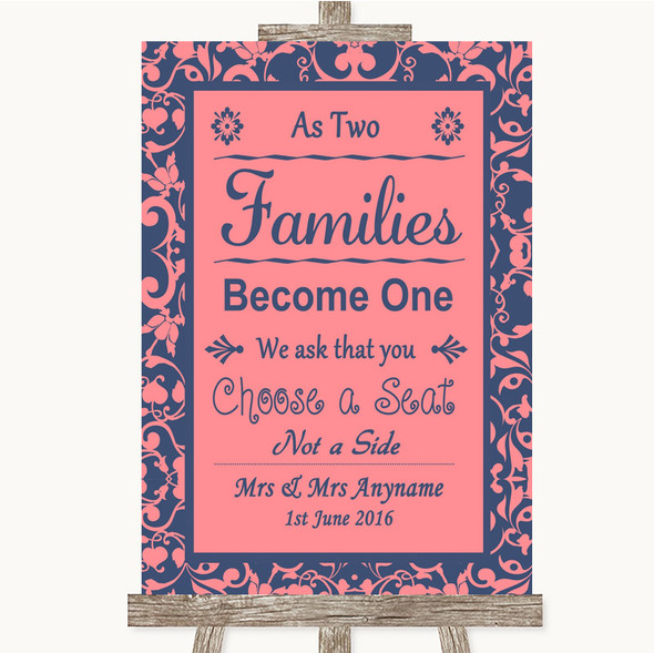 Coral Pink & Blue As Families Become One Seating Plan Personalised Wedding Sign