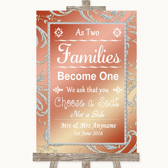 Coral Pink As Families Become One Seating Plan Personalised Wedding Sign