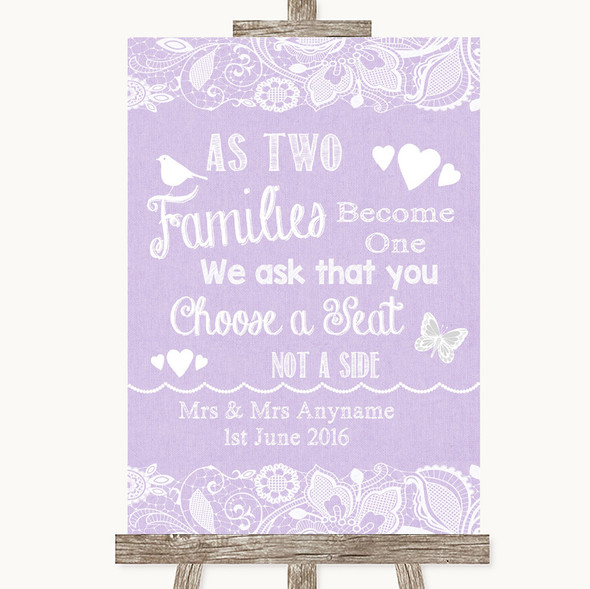 Lilac Burlap & Lace As Families Become One Seating Plan Wedding Sign