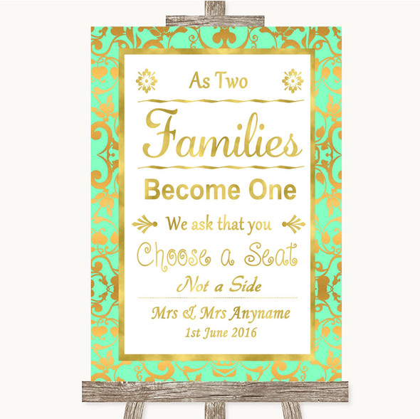 Mint Green & Gold As Families Become One Seating Plan Personalised Wedding Sign