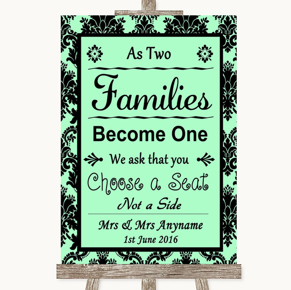 Mint Green Damask As Families Become One Seating Plan Personalised Wedding Sign
