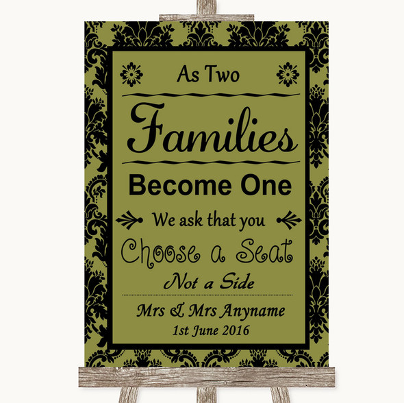 Olive Green Damask As Families Become One Seating Plan Personalised Wedding Sign