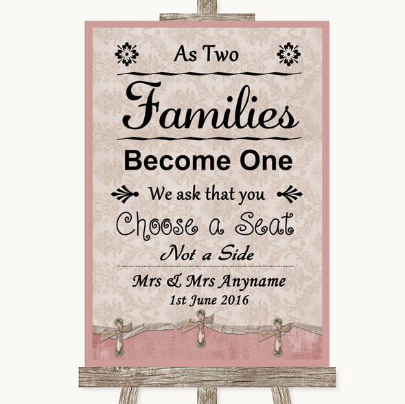 Pink Shabby Chic As Families Become One Seating Plan Personalised Wedding Sign