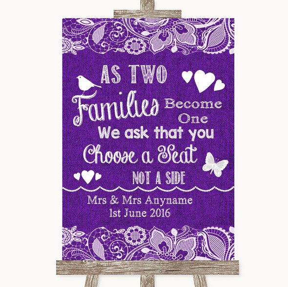 Purple Burlap & Lace As Families Become One Seating Plan Wedding Sign