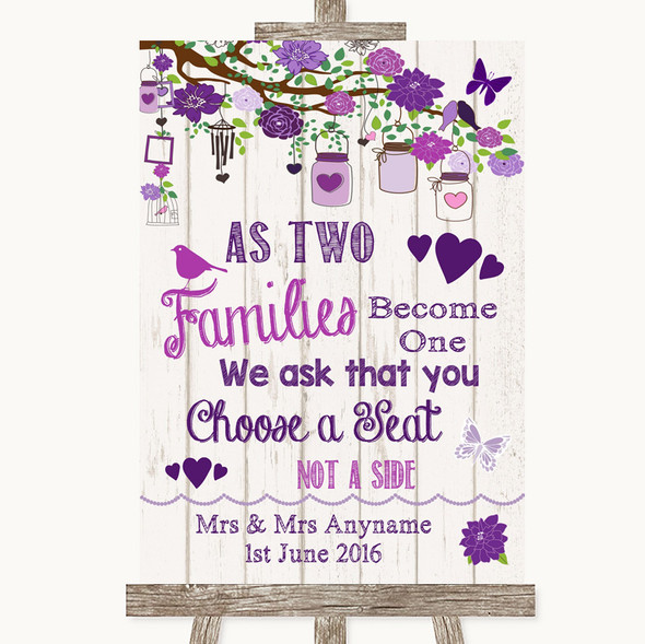 Purple Rustic Wood As Families Become One Seating Plan Personalised Wedding Sign